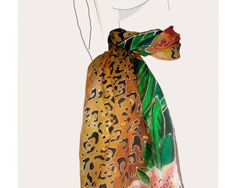 Gold Leopard Floral, hand painted silk scarf:  Leopard Lilies