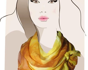 Yellow, hand painted silk scarf:  Butterscotch Dream