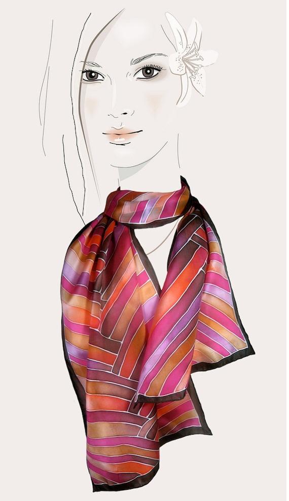 Hand painted silk scarf. (Pink, Orange, Brown):  Braided Stripes