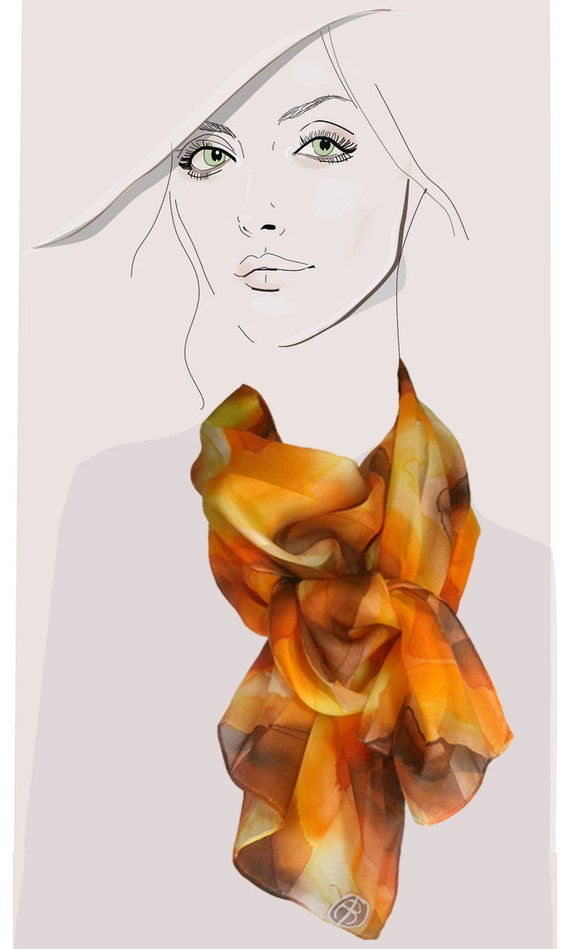 Amber, gold and orange, hand painted silk scarf:  Watercolor Diamonds