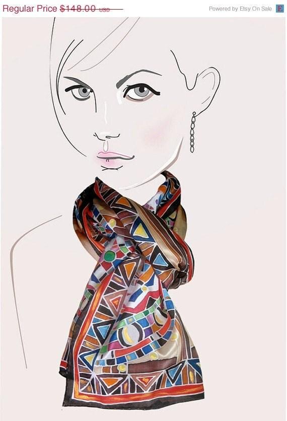 ON SALE Brown multicolored geometric, hand painted silk scarf:  Maasai Mosaic