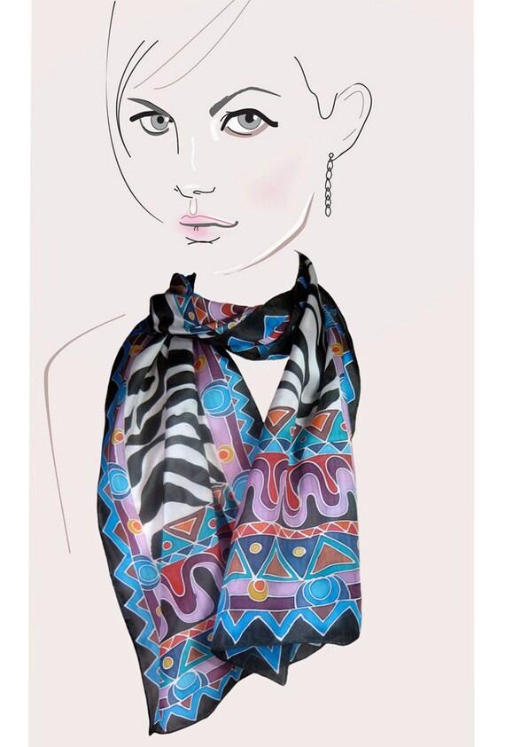 Hand painted silk scarf (zebra, multicolor tribal):  Wild Beauty