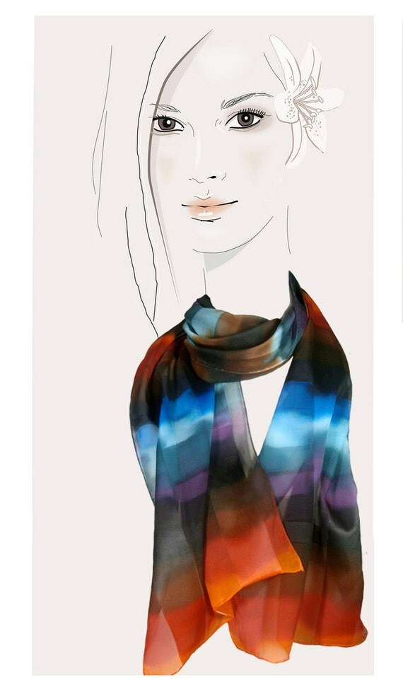 Blue, brown, orange, watercolor striped, hand painted silk scarf:  African Horizon