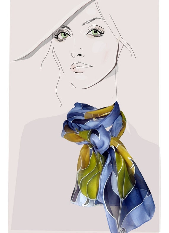 Royal Tulips: Periwinkle and gold, hand painted silk satin scarf