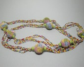 Funky Seed Bead and Crochet Beaded Hippy Style Necklace