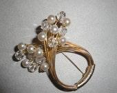 Vintage Hobe Faux Pearl Brooch