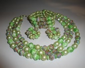Vintage Mad Men Era Soft Green Necklace Bracelet and Earring Set