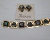 Vintage Chameleon Stone Bracelet and Earring Set