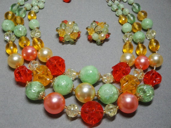 Unusual Vintage Colorful German Made Necklace and Earring Set