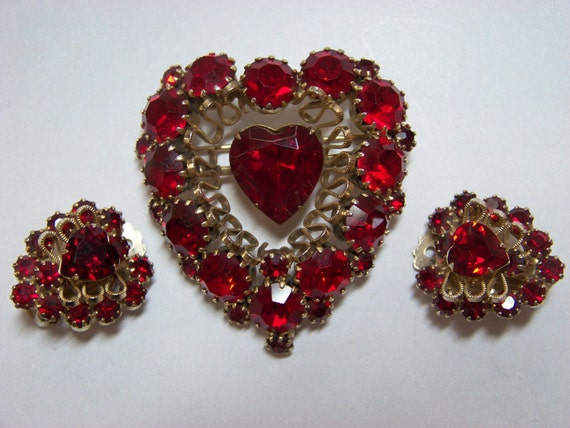 Reserved Do Not Purchase-Vintage Weiss  Red Heart Brooch and Matching Earrings