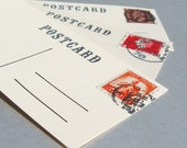 2 postcard manila gift tags with original vintage postage stamps