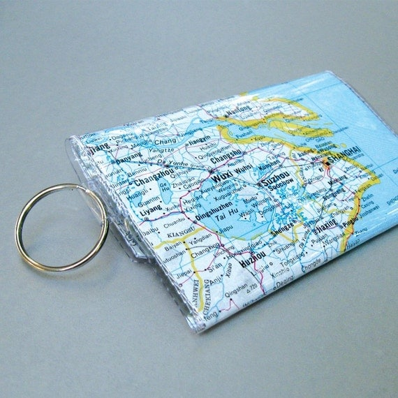 Recycled china map business card holder keychain by marmalime for Keychain business cards