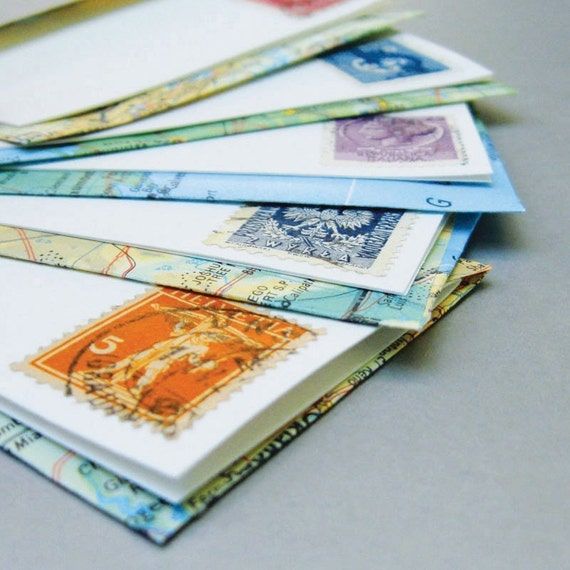 mini postage stamp business card sized stationery set with recycled map envelopes set of 5