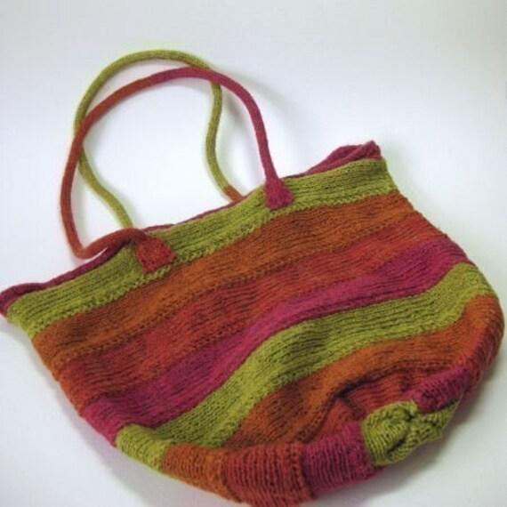 Patchwork Knitting Bag Pattern : Spiral Bag Knitting Pattern Knitted Bag Knitting by clairecrompton
