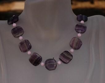 Kimadirose Large Fluorite & Swarovski  Individually Hand Knotted Necklace