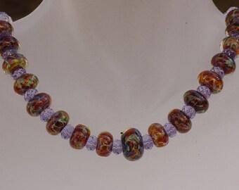 Kimadirose Handmade Lampwork  Swarovski Crystal Necklace
