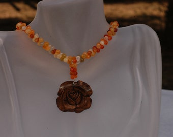 Kimadirose  Carnelian Double Beaded Necklace with Hand Carved Wood Rose  Signed
