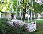 Hanging Planter, Crochet, Upcycled Hand-Braided Plarn