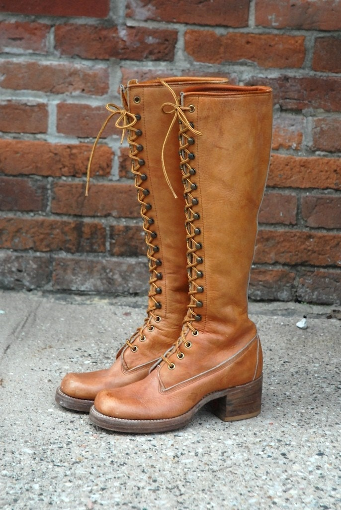 Sale Vintage Tall Lace Up Frye Campus Boots Size 5