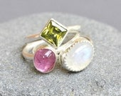 Multi Gemstone Stackable Rings Sterling Silver - Rainbow Moonstone, Pink Tourmaline, Green Cubic Zircon - Bezel Set Cabochons