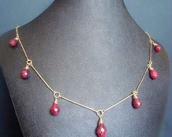 Ruby Gold Filled Necklace  - Genuine Precious Stone, 14k, hammered, hand forged, bar connector, faceted tear drop briolette