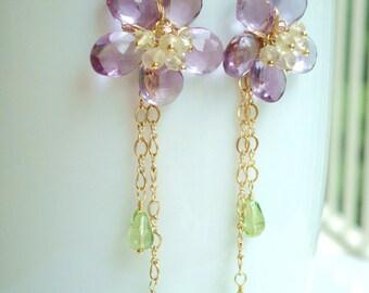 Lavender Amethyst Flower Earrings - Amethyst, Lemon Quartz, Peridot - 14k Gold Filled, 24k Gold Vermeil