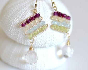 Multi Color Gemstone Earrings - crystal quartz dangle - Rhodolite Garnet, Lemon Quartz, Aquamarine, Peridot - 14k gold filled wire wrapped