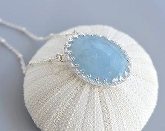 Aquamarine Pendant Necklace in 925 sterling silver - Cabochon Metalwork - Hand Forged - Hand Fused - OOAK - One of A Kind