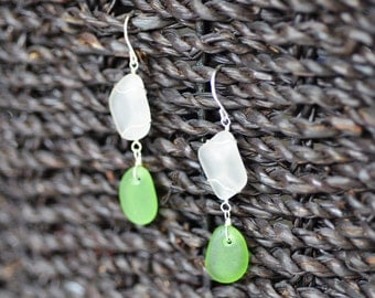Natural Sea Glass Earrings in Sterling Silver - Wire Wrapped - White and Green - Dangle - Genuine - Beach Glass