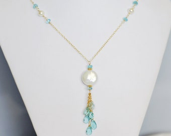 Coin Pearl and Apatite Necklace in Gold - Moon over The Sea - 14k Gold Filled - Gemstone Tassel - Something Blue - Set - Drop - Twisted