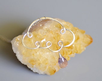 Lavender Amethyst Sterling Silver Necklace - Hand Forged - Hammered - Wire Wrapped - Febuary Birthstone - Sunny Shower - Raindrop