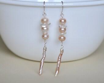 Pearls Sterling Earrings - Sterling silver wire wrapped - Dangle - Multi Shape Freshwater