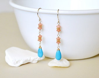 Coral and Turquoise Gold Earrings - 14k gold filled wire wrapped - genuine turquoise dangle - pink coral rondelle bead
