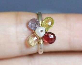 Multi Gem Flower Ring for Little Finger - Argentium Sterling Silver Band - 14k Gold Filled Wire Wrapped - 24k gold vermeil