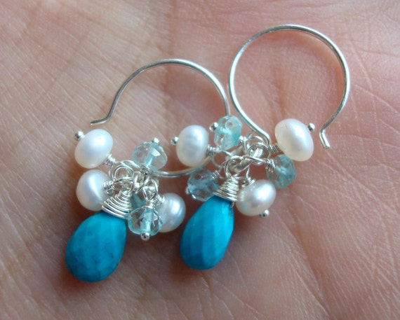 Genuine Turquoise Earrings - Cluster of Aquamarine and Freshwater Pearl