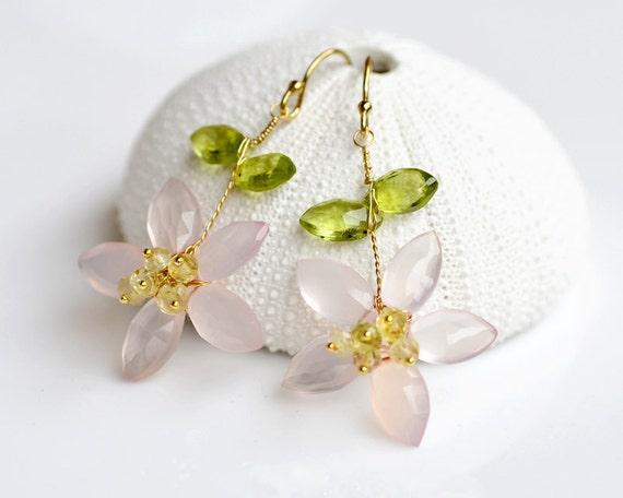 Pink Chalcedony and Peridot Earrings - 14k gold filled - lemon quartz