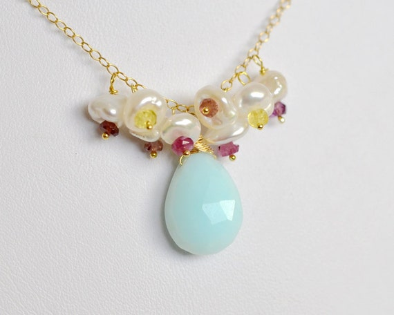 Blue Peruvian Opal 14k Gold Filled Necklace with Keishi Pearl and Multi Color Tourmaline Cluster