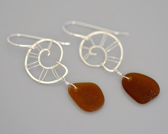Amber Sea Glass Earrings Sterling Silver Conch - Wire Wrapped - Snail - Hand Forged - Hammered - Eco Friendly - Brown