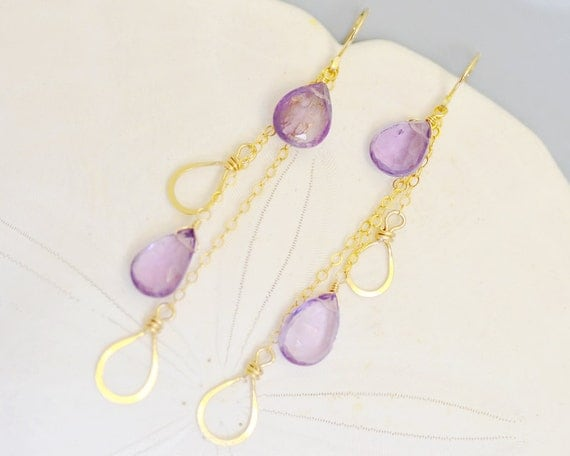 Amethyst Earrings 14k gold filled - Wire Wrapped - Dangle - Chain - Hammered Wire - Hand Forge - Pear briolette - Drop