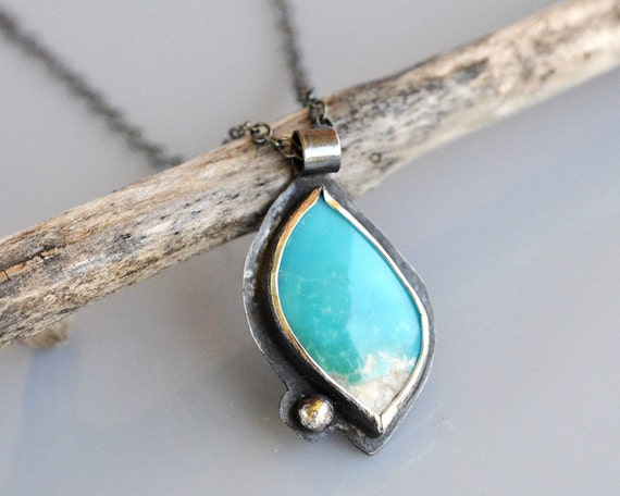 Genuine Turquoise Cabochon Necklace Sterling Silver - One Leaf Knows Fall - Sleeping Beauty - Soldered Bezel - Metalwork - Oxidized