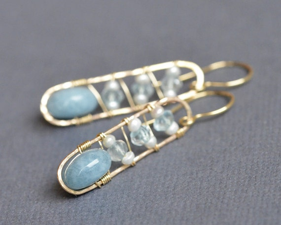 Aquamarine Gold Filled Earrings - Freshwater Pearl - 14k gold filled wire wrapped - metalwork - soldered hammered wire - Dangle