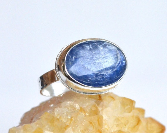 Kyanite Ring Sterling Silver - Bezel Set Oval Cabochon - Natural Gemstone, Semi Precious Stone - Hand Soldered Hammered - Something Blue