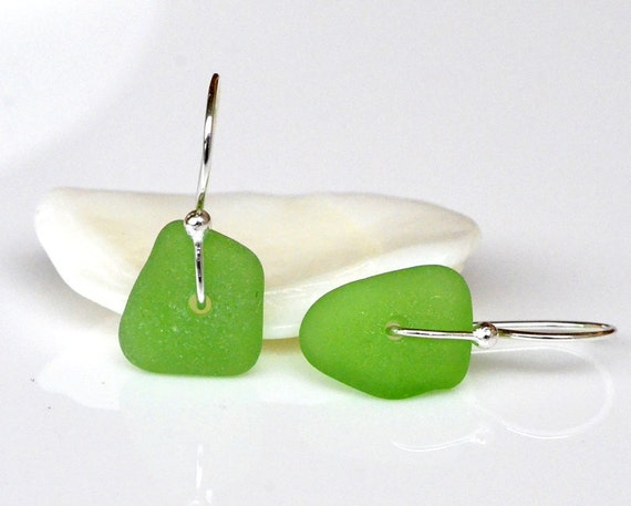 Green Sea Glass  Earrings Sterling Silver - Genuine Sea Glass Dangles - Hand Forged Torched Earwires - eco-friendly - Dainty - Everyday