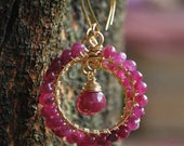 Lovely and Amazing - Ruby and Gold Wire Wrapped Dangle Hoop Earrings 14k Gold Filled