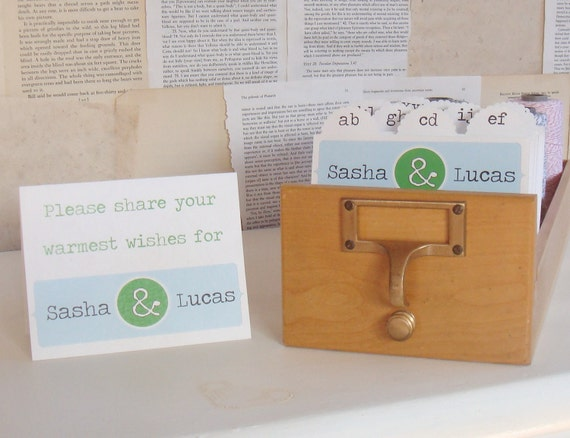 Wedding Guest Book Library Card Catalog - Personalized with 400 inserts