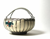 RESERVED  Vintage Ceramic Bowl Wire Basket Handles Hand Painted Flowers
