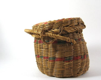 Vintage Natural Basket with Lid Natural Bohemian Decor