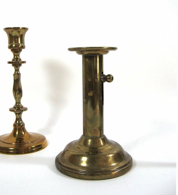 Antique Brass Candlestick Courting Candle Holder Tabletop Decor