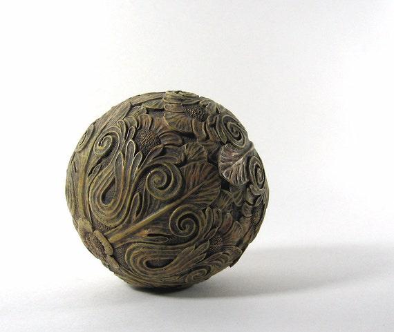 Vintage Decorative Ball Sphere Orb Globe Flower Design