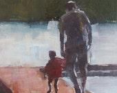 Print of Father and Son Holding Hands,  from original oil painting, 5x7 inch image , 8x10 mat, FREE SHIPPING